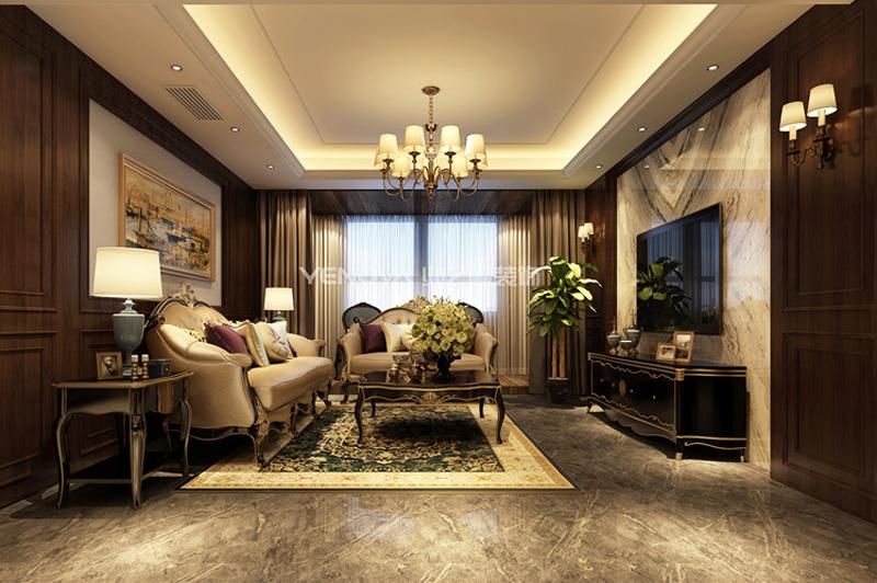 黄河兴龙城140平美式古典风格