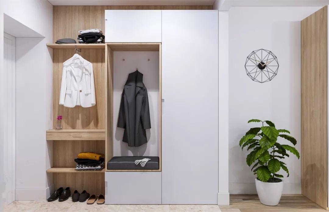 门厅鞋柜+衣柜的雷竞技官网,实用又美观!